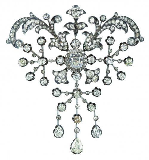 Broche c.1850 de brillantes de talla antigua, con centro de