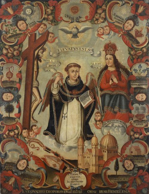 ESCUELA COLONIAL, SIGLO XVIIISanto Tomás de Aquino con Cri