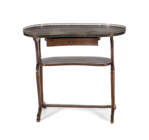 Mesa auxiliar en forma de riñón en madera de caobaS. XX