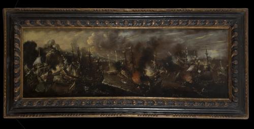 ATRIBUIDO A FRANÇOIS DE NOMÉ (1593-1640)Escena de batalla