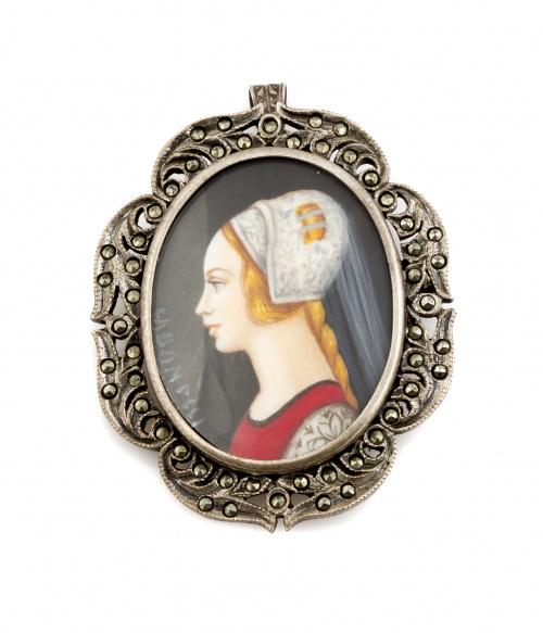 Broche colgante con miniatura de dama pintada, con marco de