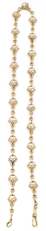 Leontina s.XIX en oro de 18K con piezas en forma de gota de