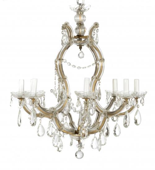 Lámpara de ocho luces vidrio soplado y alma de broce.Españ