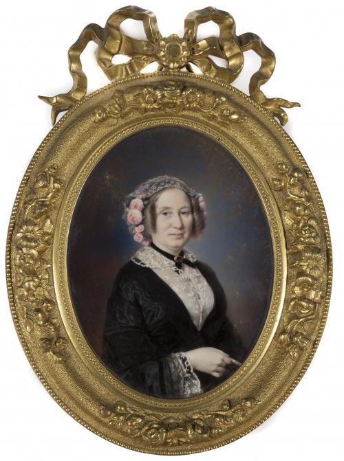 EDME ROUSSEAU (1815-1868)Retrato de dama y caballero