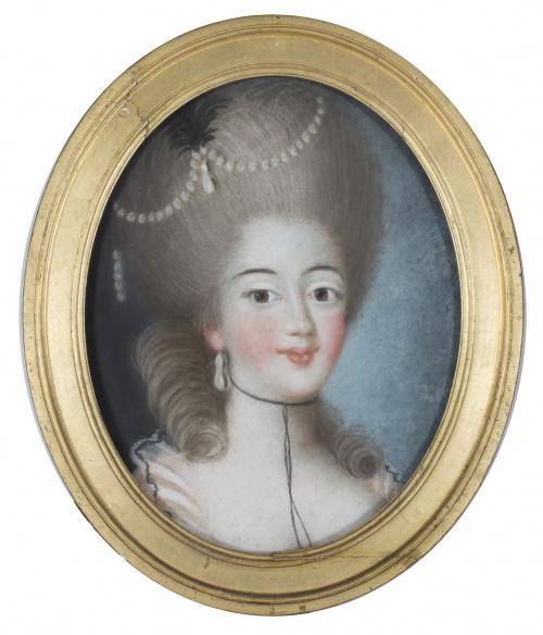ESCUELA FRANCESA H. 1800Pareja de retratos de damas
