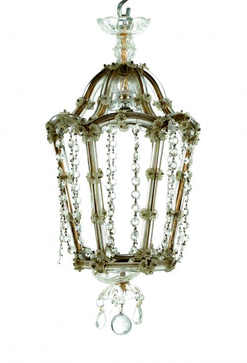 Farol de vidrio prensado y metal.Venecia, pp s. XX