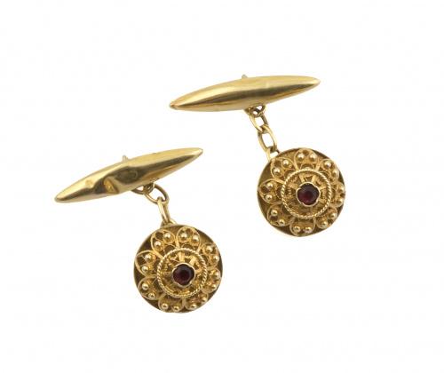 Gemelos charros de ff. s.XIX con botones adornados por fili