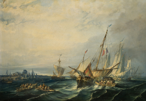 EUGENIO LUCAS VELÁZQUEZ (Madrid, 1817 - 1870)Vista costera