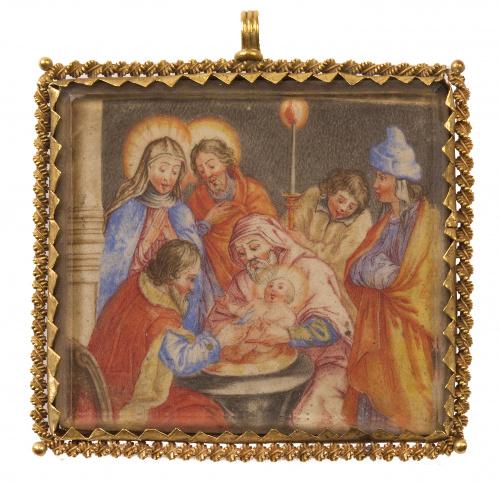 Colgante S. XVII con escena de circuncisión de Cristo pinta