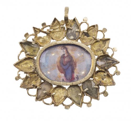 Colgante S. XVII con miniatura de Santa Teresa en anverso y
