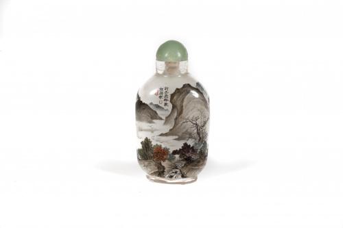 Snuff-bottle pintado bajo cristal con un paisaje.China, Di