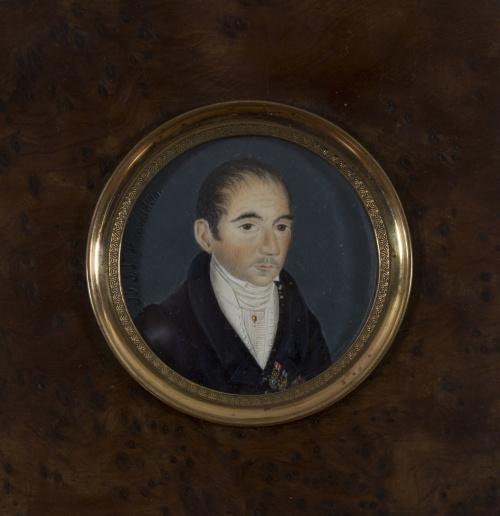 B.S.V. (Escuela francesa, siglo XIX)Retrato de caballero c
