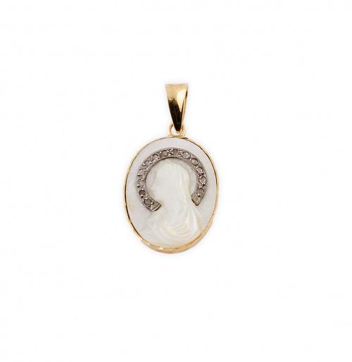 Medalla colgante años 50 con Virgen en nácar años 30, con a