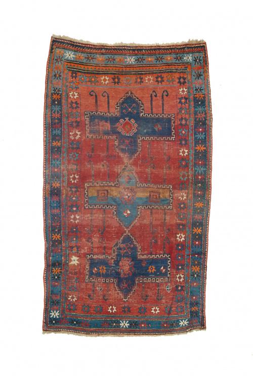 Alfombra Kazak en lana de campo rojo y decoración de flores