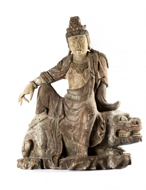 Guanyin Madera tallada y policromada China, S. XIX