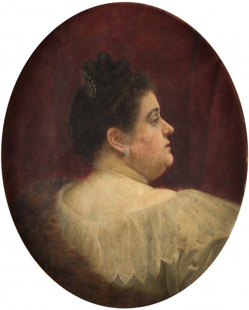 FEDERICO AMUTIO (Madrid, 1869 - 1942)Retrato de dama de pe