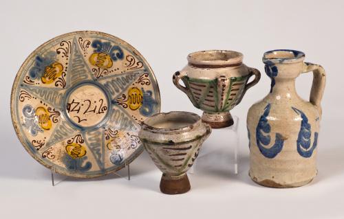 Mortero en cerámica esmaltada en manganeso y verde.Teruel,
