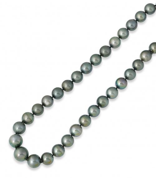 Collar de perlas de Tahití redondas con tamaño entre 13,70