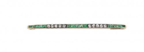 Broche barra de pp. S.XIX con esmeraldas calibradas y brill