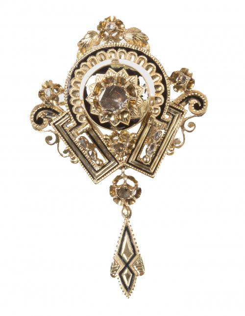 Broche Isabelino de diamantes con motivos vegetales y geomé