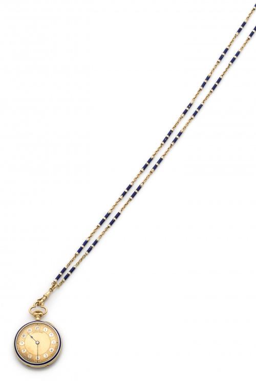 Elegante reloj Lepine con cadena, de pp s. XX en oro de 18K