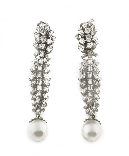 Pendientes largos años 30 con perlas Australianas que pende
