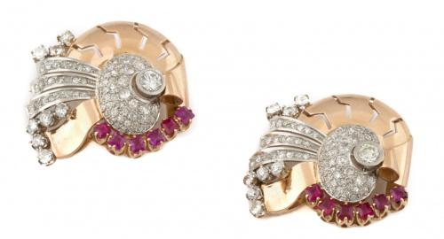 Pareja de broches clip años 40 con rubís y brillantes en di
