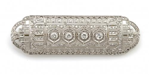 Broche placa de platino y brillantes Art-Decó con cuatro br