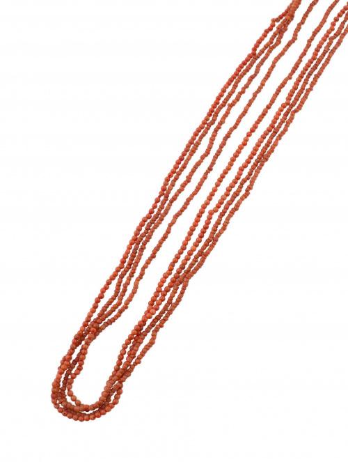 Collar extralargo de cuentas de coral rojo mediterráneo de