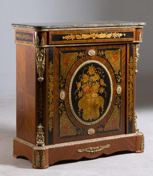 Entredós estilo Napoleón III en madera de caoba con marquet