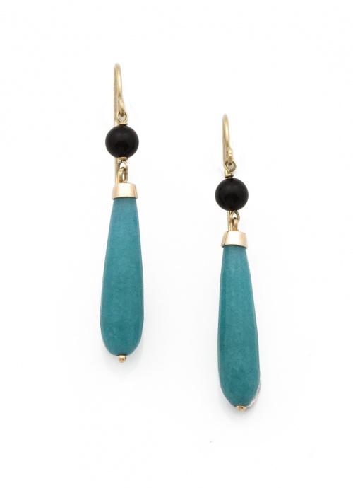 Pendientes largos con gota de jade color turquesa,que pende