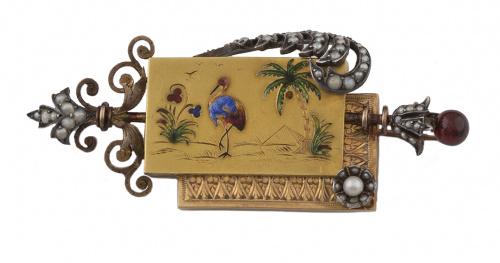 Broche de pp s.XX con esmalte de inspiración egipcia en rec