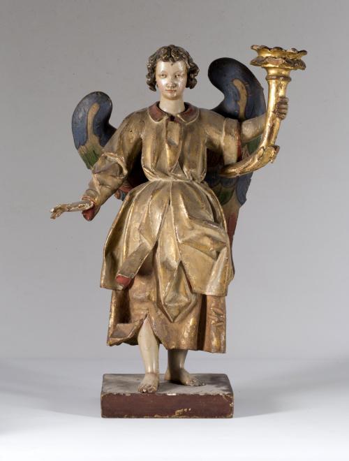"""""""Angel torchero"""" en madera tallada, policromada y dorada.E"""