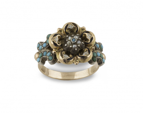 Sortija flor S.XIX con turquesa, esmalte y perlitas en oro