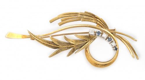 Broche años 60 con ramas y bandas de oro mate y brillo con