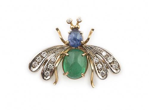 Broche abeja con alas de brillantes, cuerpo de cabuchón de