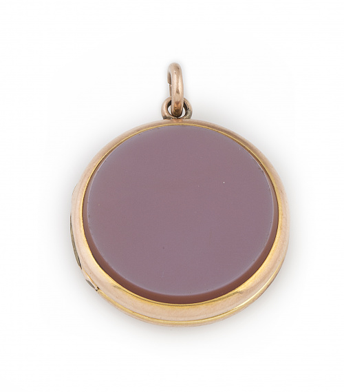 Colgante circular s.XIX portafotos guardapelo con ágata en