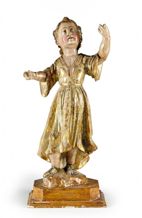 Niño de la sagrada familia en madera tallada, estofada  y p