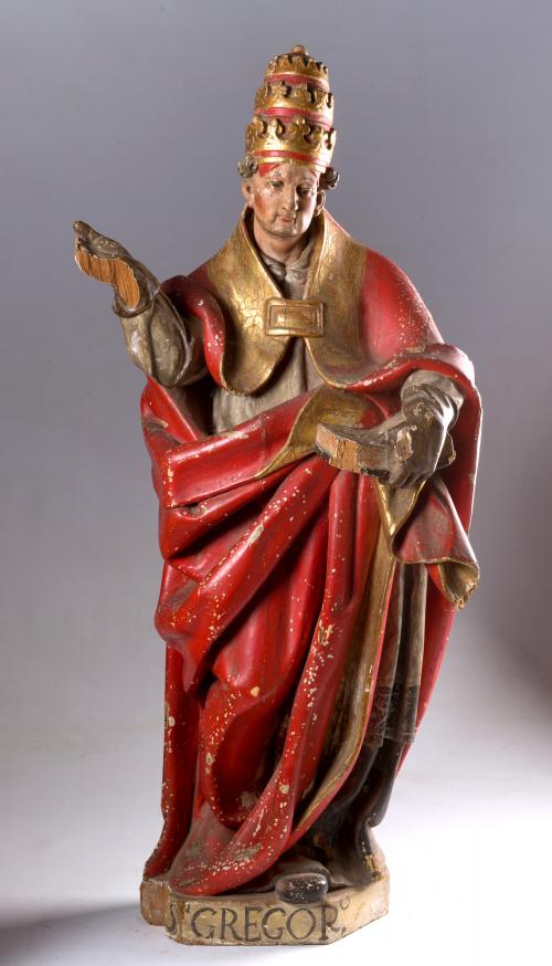 San Gregorio Magno. Madera tallada, policromada y dorada.
