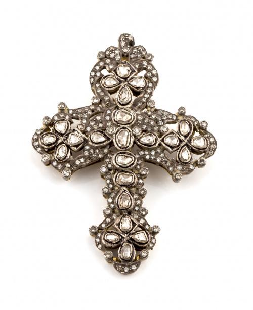 Cruz colgante de diamantes portuguesa S.XIX, con profusa de