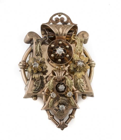 Broche Victoriano con brillantes de talla antigua en  varia