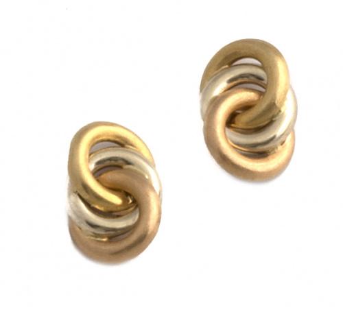 Pendientes con tres círculos entrelazados en oro tricolor d