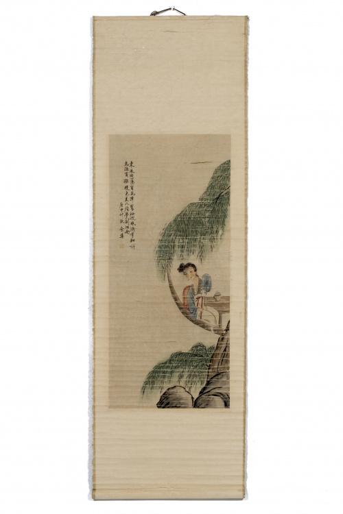 Rollo en seda y papel berjurado pintado.Trabajo chino, S.