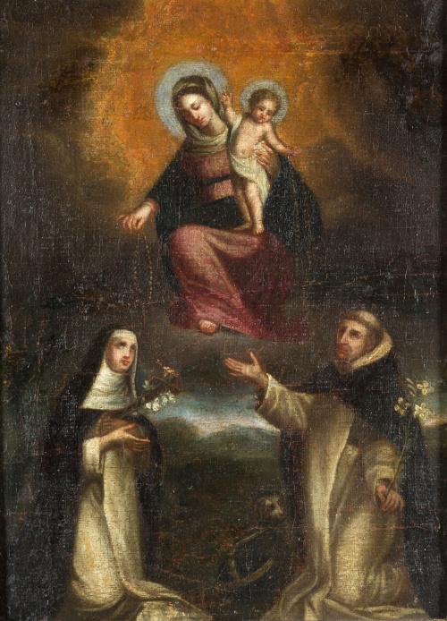 ESCUELA ESPAÑOLA, SIGLO XVIIVirgen entregando el rosario a