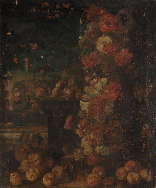 A LA MANERA DEL SIGLO XVIIIPaisaje con florero sobre un pe