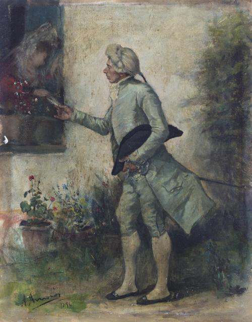ANTONIO AMORÓS Y BOTELLA (1849-1925)Escena de cortejo