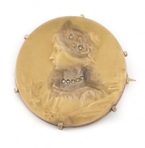 Broche circular Art-Nouveau Francés firmado Félis Rasumny c