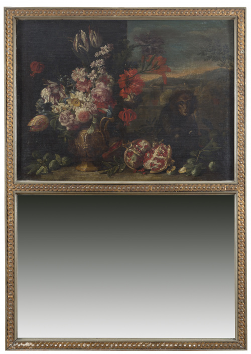 ESCUELA ROMANA, SIGLO XVIIBodegón de flores, granadas y mo