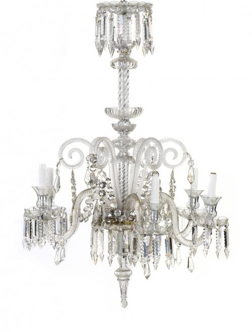 Lámpara de techo de seis brazos en cristal tallado.Posible