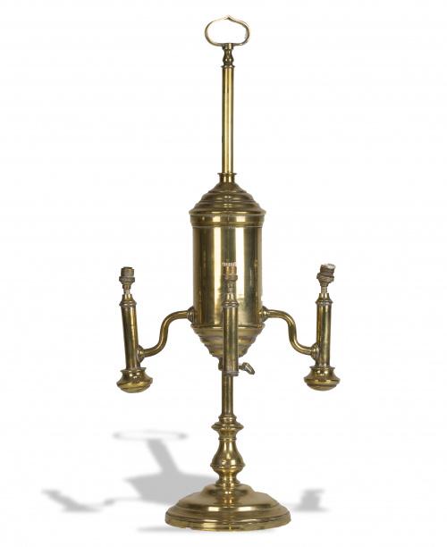 Lámpara de aceite de tres luces en bronce, S. XIX